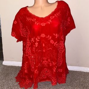 Johnny Was red crochet blouse Sz XL